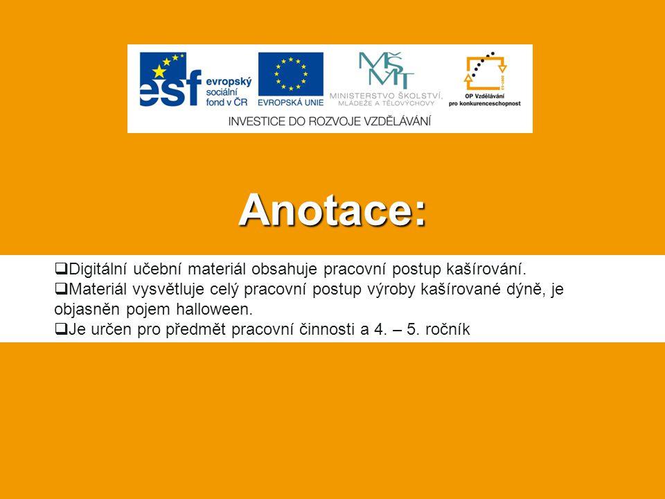 Anotace:  Digitální učební materiál obsahuje pracovní postup kašírování.
