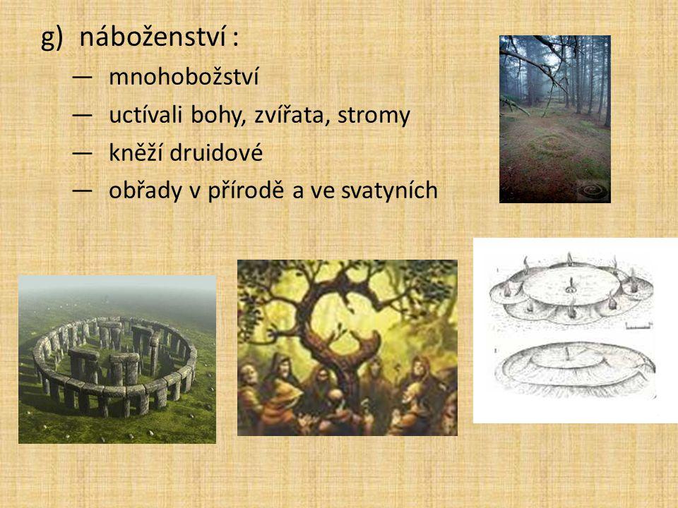 g)náboženství : —mnohobožství —uctívali bohy, zvířata, stromy —kněží druidové —obřady v přírodě a ve svatyních