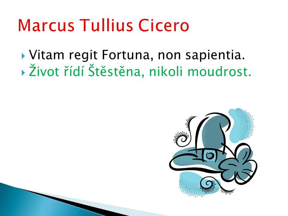  Vitam regit Fortuna, non sapientia.  Život řídí Štěstěna, nikoli moudrost.