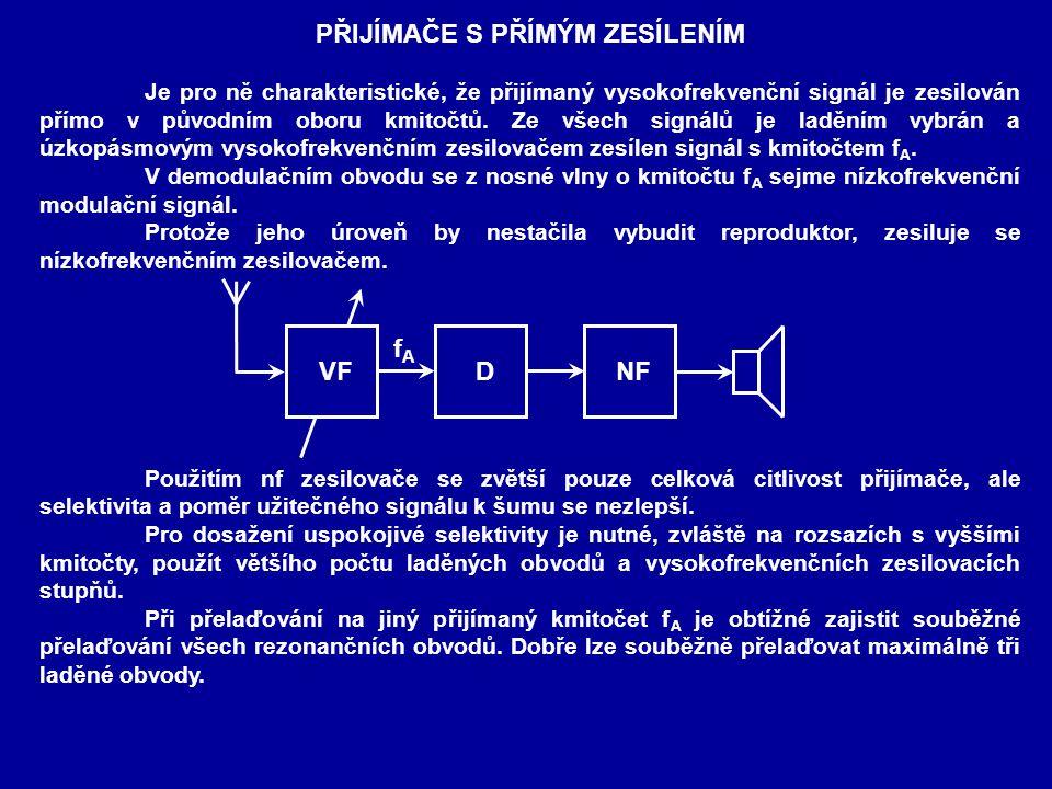 PŘIJÍMAČE S PŘÍMÝM ZESÍLENÍM Je pro ně charakteristické, že přijímaný vysokofrekvenční signál je zesilován přímo v původním oboru kmitočtů.