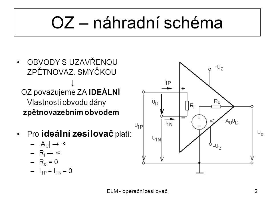 ELM - operační zesilovač2 OZ – náhradní schéma OBVODY S UZAVŘENOU ZPĚTNOVAZ. SMYČKOU ↓ OZ považujeme ZA IDEÁLNÍ Vlastnosti obvodu dány zpětnovazebním