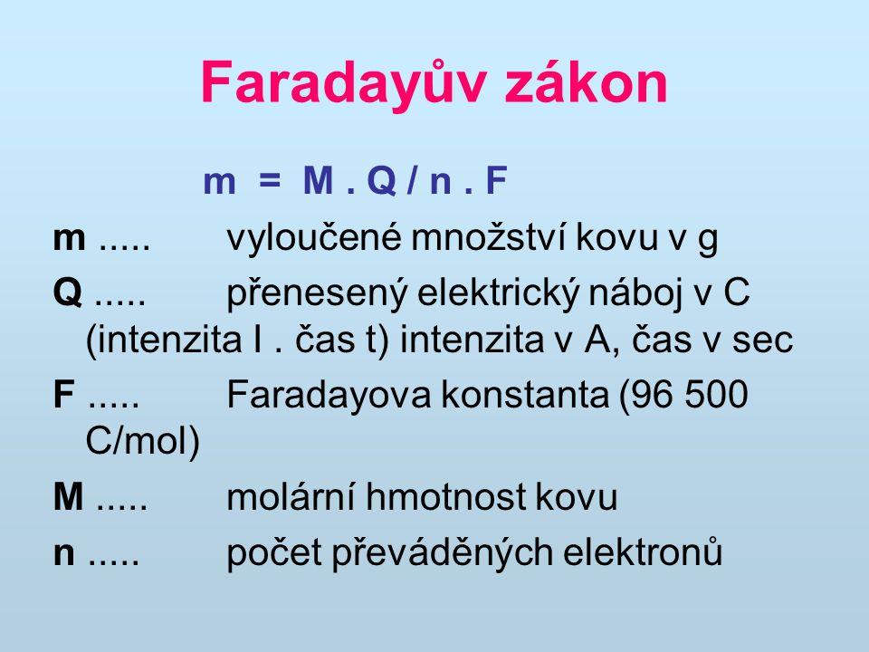 Faradayův zákon m = M. Q / n. F m.....vyloučené množství kovu v g Q.....přenesený elektrický náboj v C (intenzita I. čas t) intenzita v A, čas v sec F