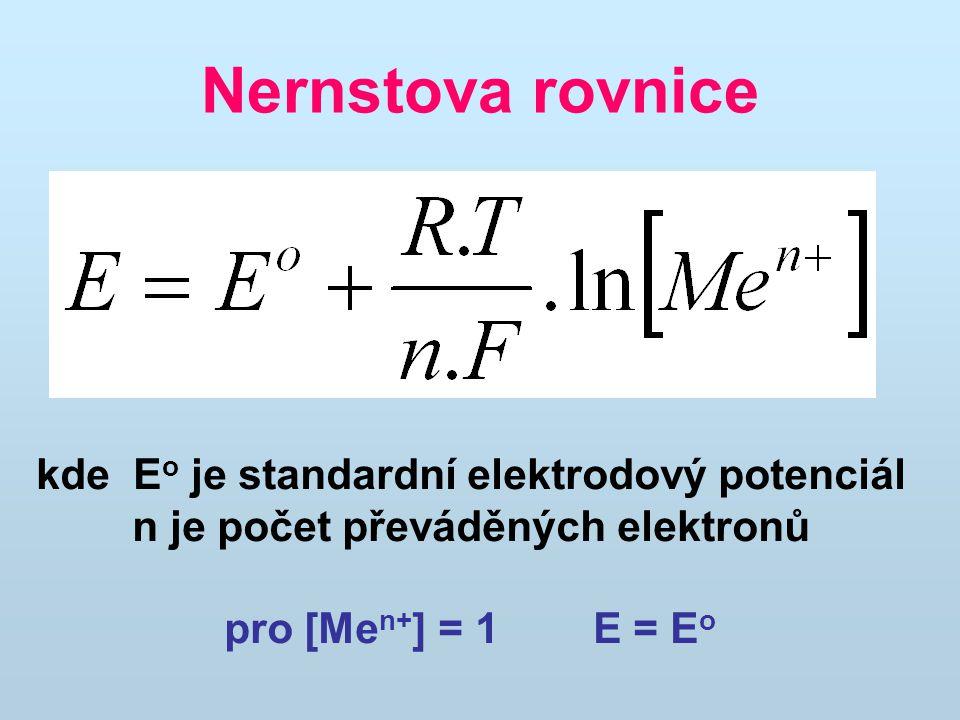 Nízká koncentrace kationtů v roztoku (kov v čisté vodě) do roztoku přecházejí kationty z kovu, kov se nabíjí záporně Vysoká koncentrace kationtů v roztoku kationty z roztoku se zachycují na kovu, kov se nabíjí kladně Děj probíhá do vyrovnání potenciálů podle Nernstovy rovnice