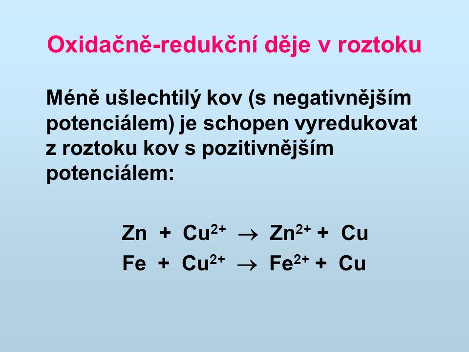 Oxidačně-redukční děje v roztoku Méně ušlechtilý kov (s negativnějším potenciálem) je schopen vyredukovat z roztoku kov s pozitivnějším potenciálem: Z