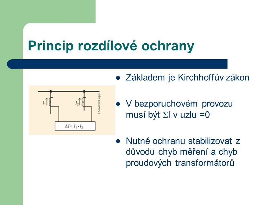 Princip rozdílové ochrany Základem je Kirchhoffův zákon V bezporuchovém provozu musí být  I v uzlu =0 Nutné ochranu stabilizovat z důvodu chyb měření a chyb proudových transformátorů