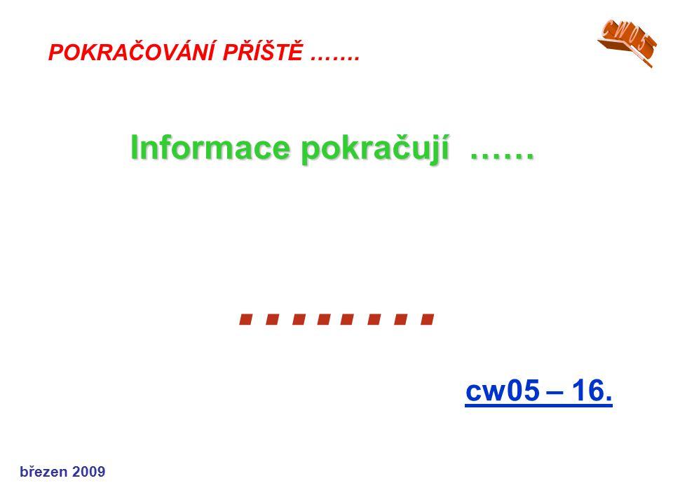 březen 2009 …..… cw05 – 16. POKRAČOVÁNÍ PŘÍŠTĚ ……. Informace pokračují ……