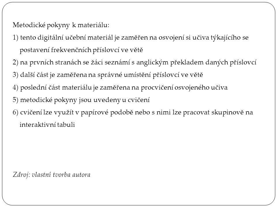 Metodické pokyny k materiálu: 1) tento digitální učební materiál je zaměřen na osvojení si učiva týkajícího se postavení frekvenčních příslovcí ve větě 2) na prvních stranách se žáci seznámí s anglickým překladem daných příslovcí 3) další část je zaměřena na správné umístění příslovcí ve větě 4) poslední část materiálu je zaměřena na procvičení osvojeného učiva 5) metodické pokyny jsou uvedeny u cvičení 6) cvičení lze využít v papírové podobě nebo s nimi lze pracovat skupinově na interaktivní tabuli Zdroj: vlastní tvorba autora