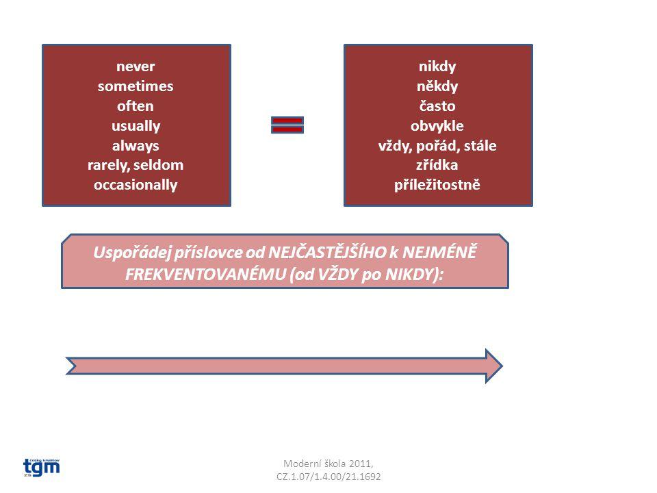 Moderní škola 2011, CZ.1.07/1.4.00/21.1692 never sometimes often usually always rarely, seldom occasionally nikdy někdy často obvykle vždy, pořád, stále zřídka příležitostně Uspořádej příslovce od NEJČASTĚJŠÍHO k NEJMÉNĚ FREKVENTOVANÉMU (od VŽDY po NIKDY):