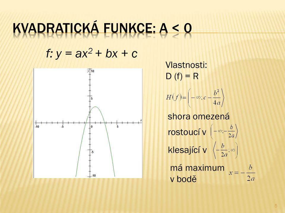 f: y = ax 2 + bx + c Vlastnosti: D (f) = R shora omezená rostoucí v klesající v má maximum v bodě 5