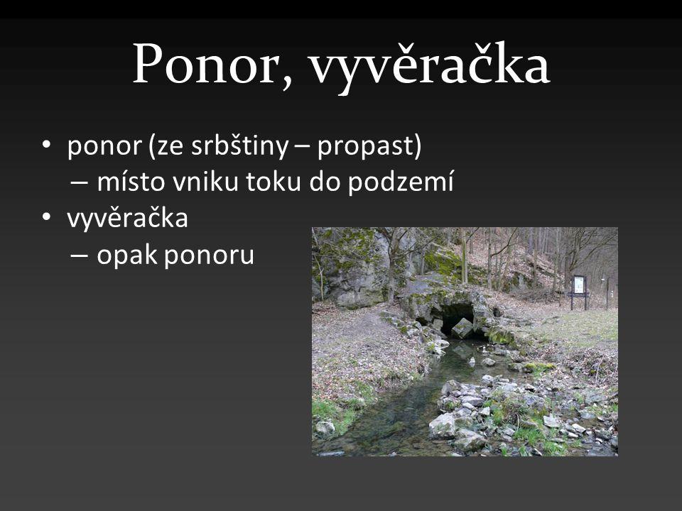 Ponor, vyvěračka ponor (ze srbštiny – propast) – místo vniku toku do podzemí vyvěračka – opak ponoru