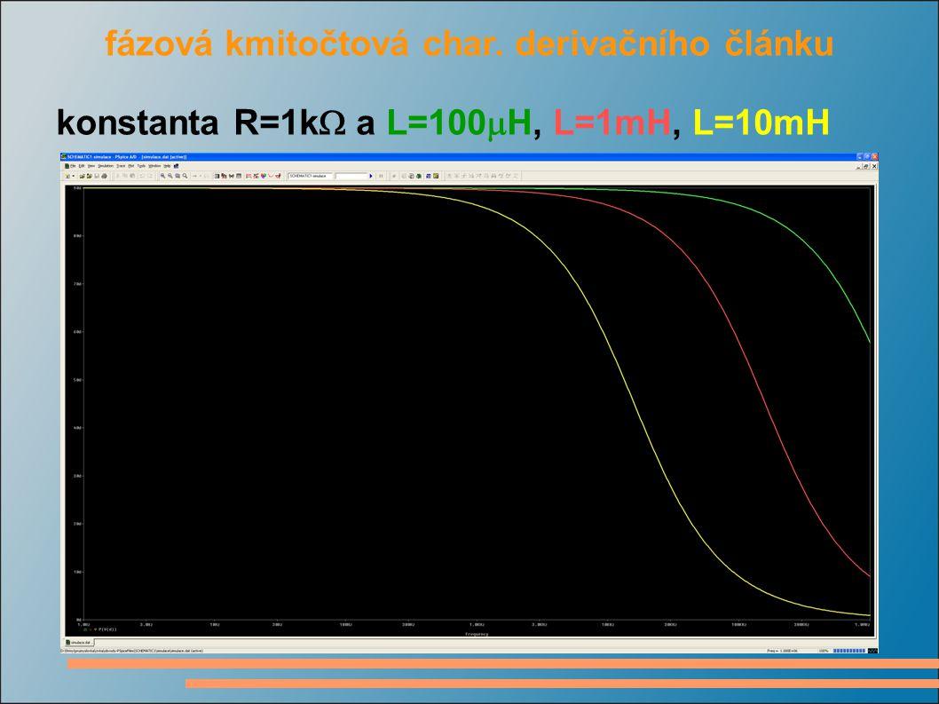 fázová kmitočtová char. derivačního článku konstanta R=1k  a L=100  H, L=1mH, L=10mH