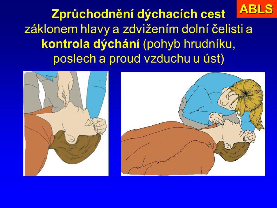 Zprůchodnění dýchacích cest záklonem hlavy a zdvižením dolní čelisti a kontrola dýchání (pohyb hrudníku, poslech a proud vzduchu u úst)ABLS