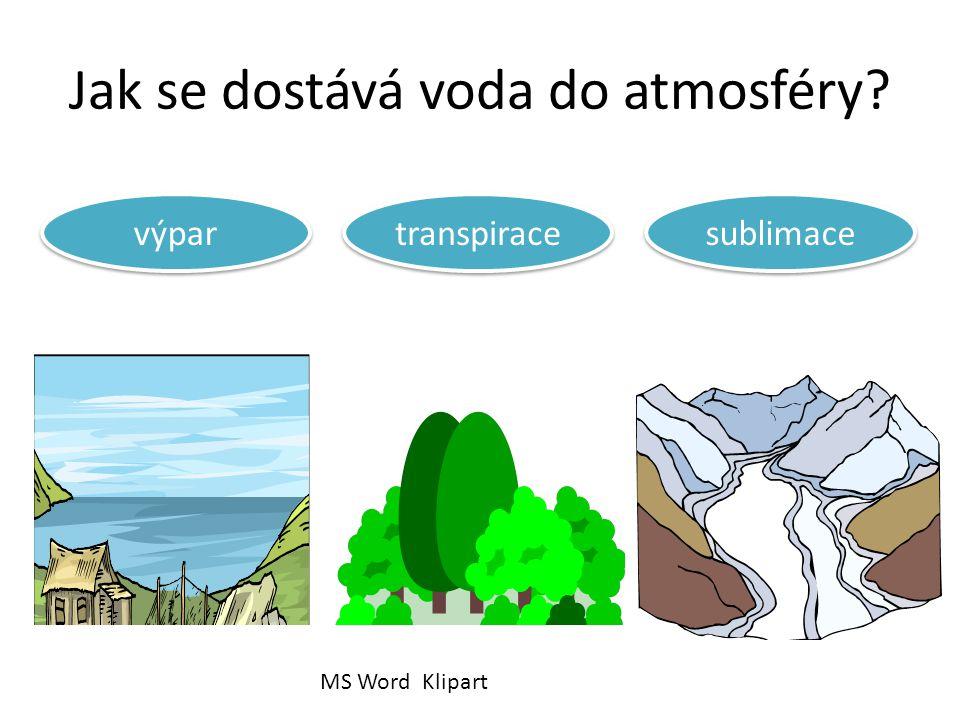 Jak se dostává voda do atmosféry výpar transpirace sublimace MS Word Klipart