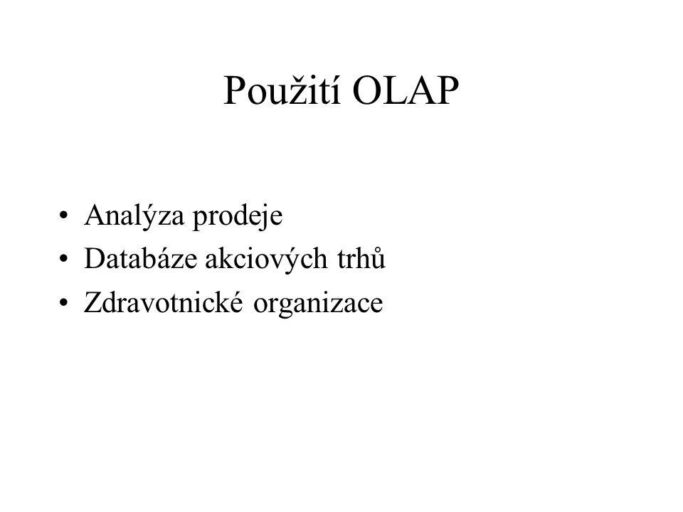 Použití OLAP Analýza prodeje Databáze akciových trhů Zdravotnické organizace