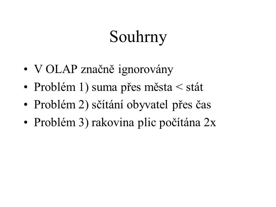 Souhrny V OLAP značně ignorovány Problém 1) suma přes města < stát Problém 2) sčítání obyvatel přes čas Problém 3) rakovina plic počítána 2x