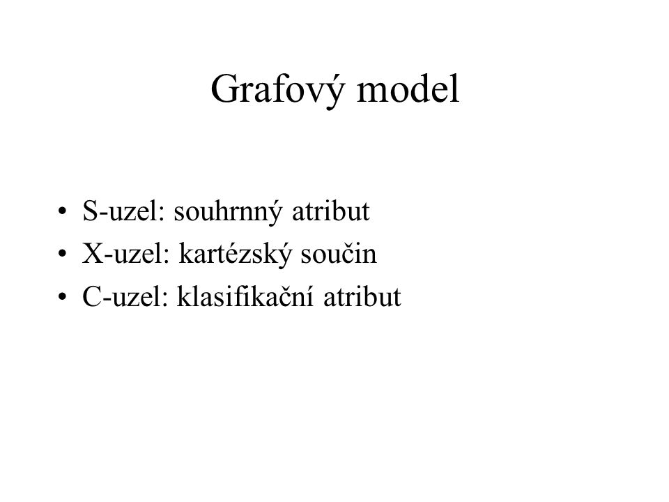 S-uzel: souhrnný atribut X-uzel: kartézský součin C-uzel: klasifikační atribut