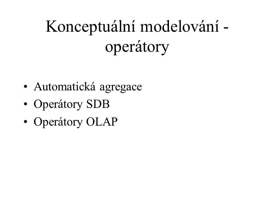 Konceptuální modelování - operátory Automatická agregace Operátory SDB Operátory OLAP