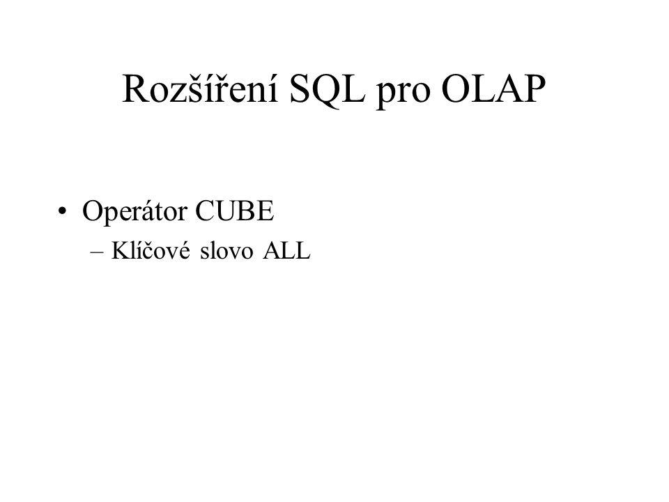 Rozšíření SQL pro OLAP Operátor CUBE –Klíčové slovo ALL