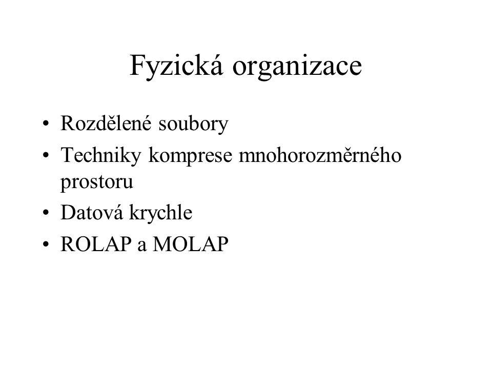 Fyzická organizace Rozdělené soubory Techniky komprese mnohorozměrného prostoru Datová krychle ROLAP a MOLAP