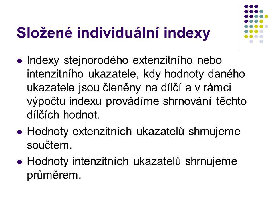 Složené individuální indexy Indexy stejnorodého extenzitního nebo intenzitního ukazatele, kdy hodnoty daného ukazatele jsou členěny na dílčí a v rámci výpočtu indexu provádíme shrnování těchto dílčích hodnot.