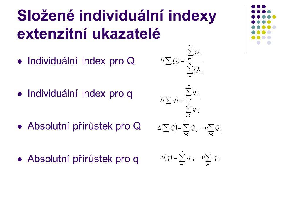 Složené individuální indexy extenzitní ukazatelé Individuální index pro Q Individuální index pro q Absolutní přírůstek pro Q Absolutní přírůstek pro q