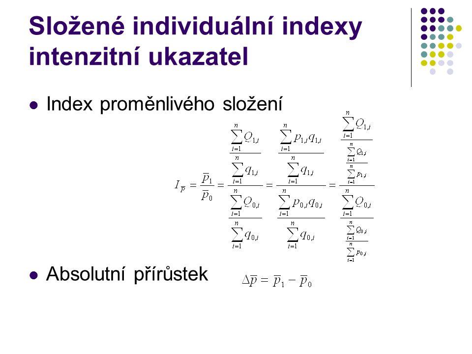 Složené individuální indexy intenzitní ukazatel Index proměnlivého složení Absolutní přírůstek