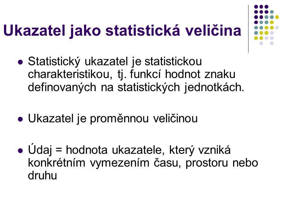 Ukazatel jako statistická veličina Statistický ukazatel je statistickou charakteristikou, tj.