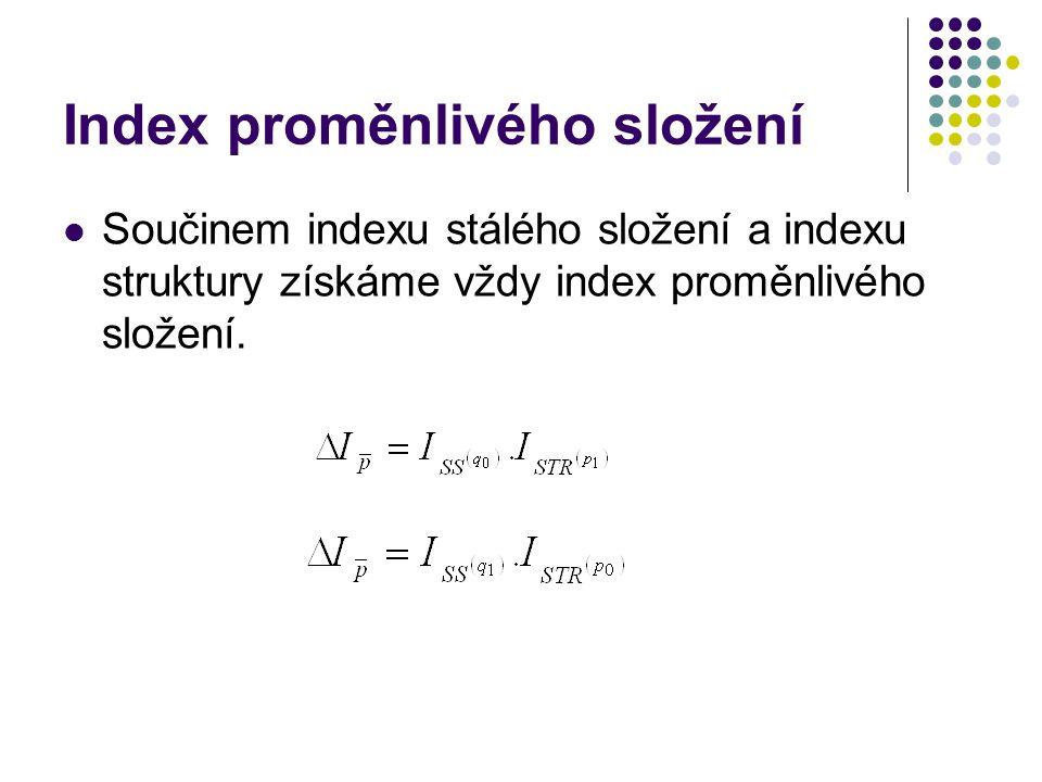 Index proměnlivého složení Součinem indexu stálého složení a indexu struktury získáme vždy index proměnlivého složení.