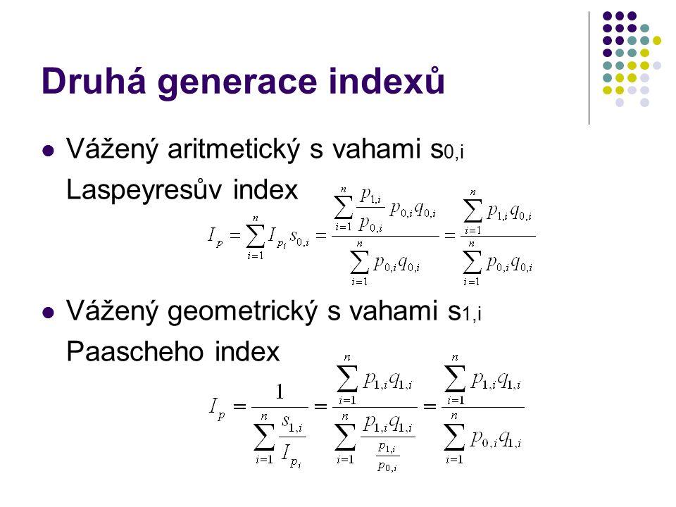 Druhá generace indexů Vážený aritmetický s vahami s 0,i Laspeyresův index Vážený geometrický s vahami s 1,i Paascheho index
