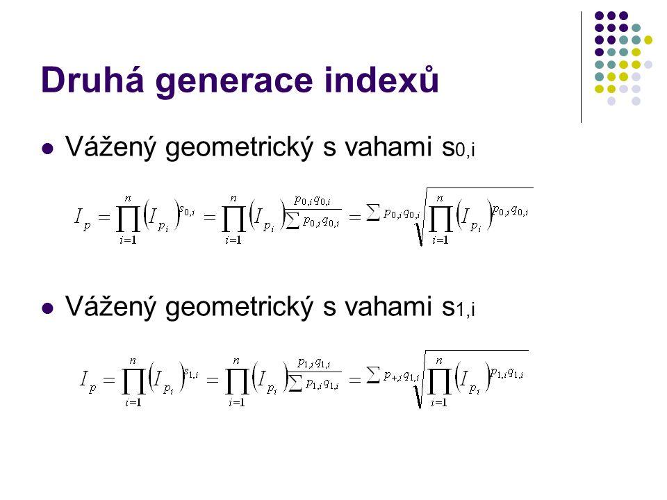 Druhá generace indexů Vážený geometrický s vahami s 0,i Vážený geometrický s vahami s 1,i