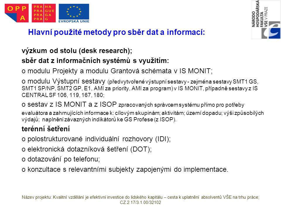 Hlavní použité metody pro sběr dat a informací: výzkum od stolu (desk research); sběr dat z informačních systémů s využitím: o modulu Projekty a modulu Grantová schémata v IS MONIT; o modulu Výstupní sestavy (předvytvořené výstupní sestavy - zejména sestavy SMT1 GS, SMT1 SP/NP, SMT2 GP, E1, AMI za priority, AMI za program) v IS MONIT, případně sestavy z IS CENTRAL SF 106, 119, 167, 180; o sestav z IS MONIT a z ISOP zpracovaných správcem systému přímo pro potřeby evaluátora a zahrnujících informace k: cílovým skupinám; aktivitám; území dopadu; výši způsobilých výdajů; naplnění závazných indikátorů ke GS Profese (z ISOP).