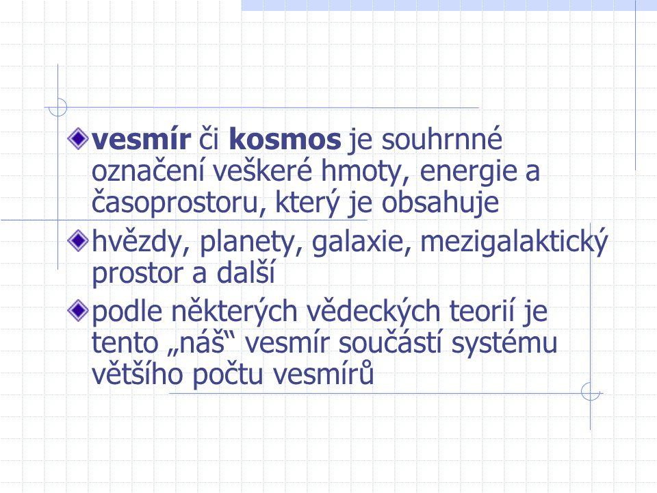 vesmír či kosmos je souhrnné označení veškeré hmoty, energie a časoprostoru, který je obsahuje hvězdy, planety, galaxie, mezigalaktický prostor a dalš
