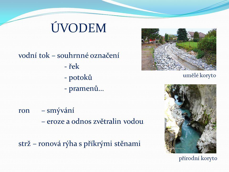 """TOKY ŘEK - horní- eroze, údolí """"V , prudký sklon - střední-eroze i sedimentace, - dolní- sedimentace, říční nivy, rovina splaveniny X plaveniny"""