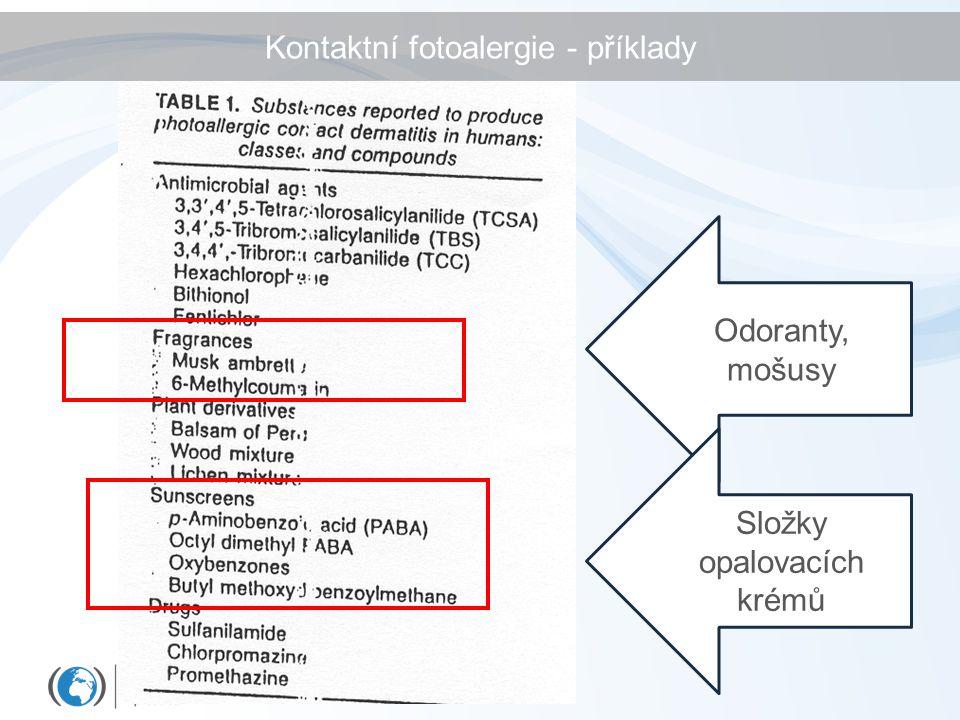 Kontaktní fotoalergie - příklady Odoranty, mošusy Složky opalovacích krémů