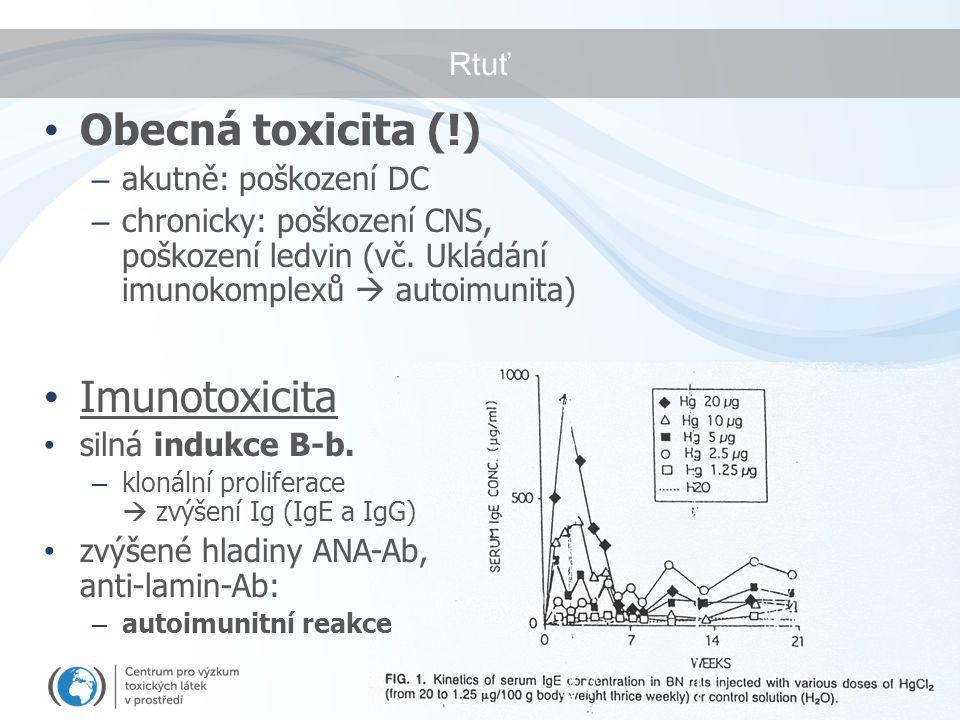 Rtuť Obecná toxicita (!) – akutně: poškození DC – chronicky: poškození CNS, poškození ledvin (vč. Ukládání imunokomplexů  autoimunita) Imunotoxicita