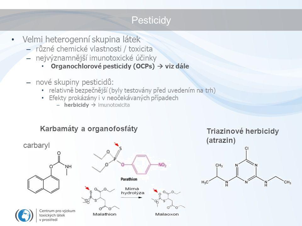 Pesticidy Velmi heterogenní skupina látek – různé chemické vlastnosti / toxicita – nejvýznamnější imunotoxické účinky Organochlorové pesticidy (OCPs)  viz dále – nové skupiny pesticidů: relativně bezpečnější (byly testovány před uvedením na trh) Efekty prokázány i v neočekávaných případech – herbicidy  imunotoxicita Karbamáty a organofosfáty carbaryl Triazinové herbicidy (atrazin)