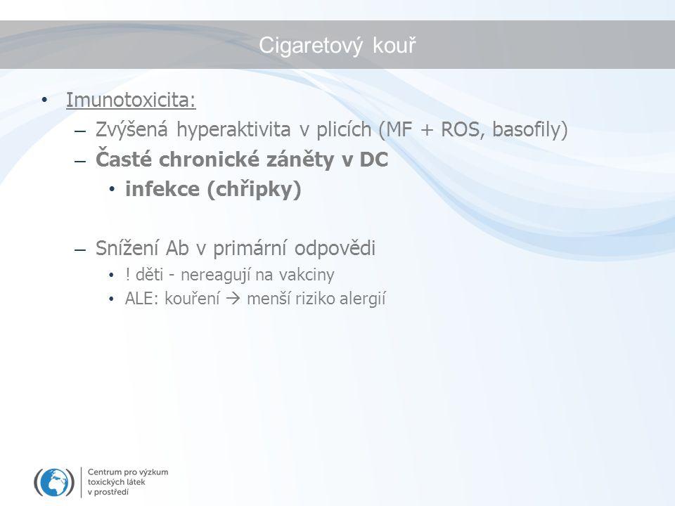 Cigaretový kouř Imunotoxicita: – Zvýšená hyperaktivita v plicích (MF + ROS, basofily) – Časté chronické záněty v DC infekce (chřipky) – Snížení Ab v p