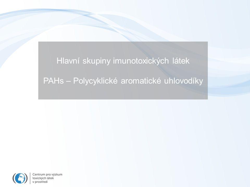Hlavní skupiny imunotoxických látek PAHs – Polycyklické aromatické uhlovodíky
