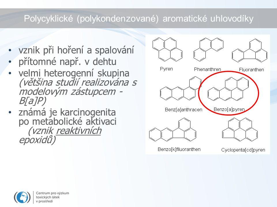 Polycyklické (polykondenzované) aromatické uhlovodíky vznik při hoření a spalování přítomné např.
