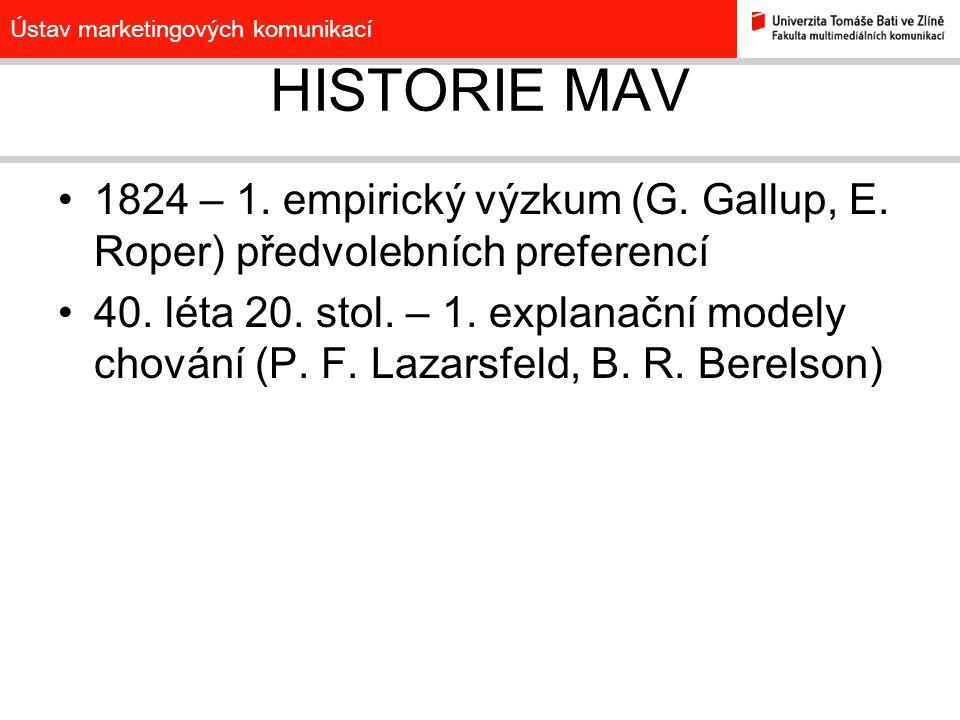 Ústav marketingových komunikací HISTORIE MAV 1824 – 1. empirický výzkum (G. Gallup, E. Roper) předvolebních preferencí 40. léta 20. stol. – 1. explana