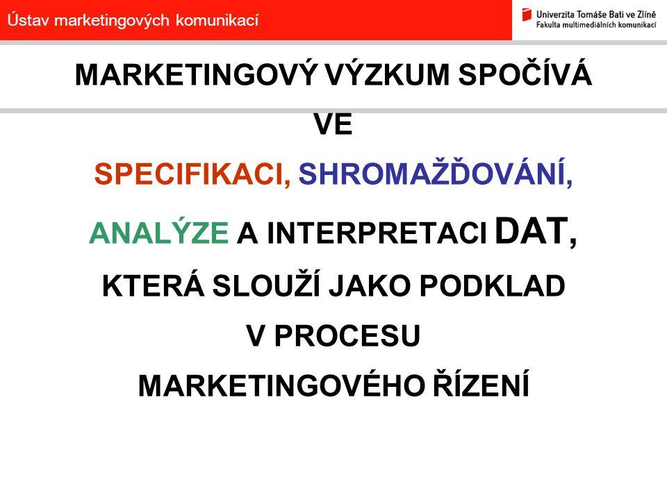 Ústav marketingových komunikací MARKETINGOVÝ VÝZKUM SPOČÍVÁ VE SPECIFIKACI, SHROMAŽĎOVÁNÍ, ANALÝZE A INTERPRETACI DAT, KTERÁ SLOUŽÍ JAKO PODKLAD V PRO