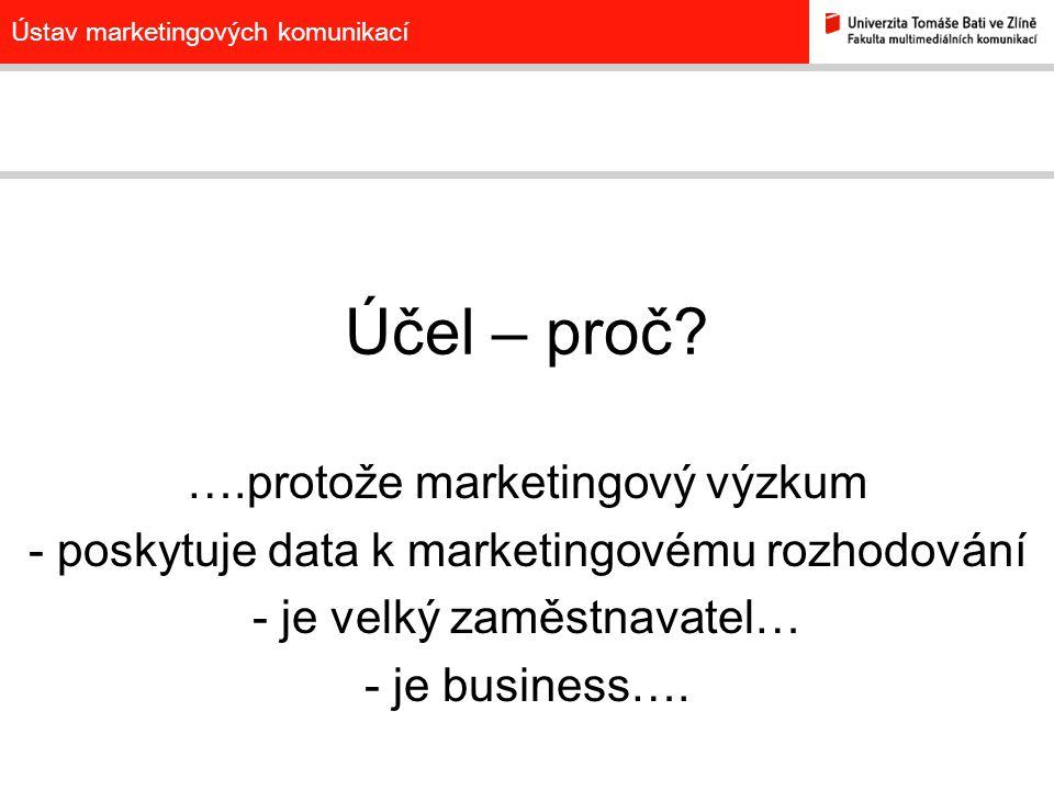 Ústav marketingových komunikací Účel – proč? ….protože marketingový výzkum - poskytuje data k marketingovému rozhodování - je velký zaměstnavatel… - j