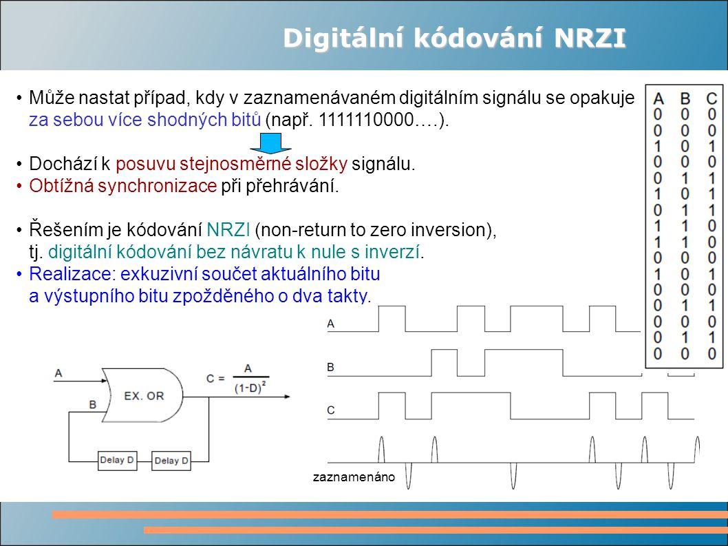 Digitální kódování NRZI Může nastat případ, kdy v zaznamenávaném digitálním signálu se opakuje za sebou více shodných bitů (např.