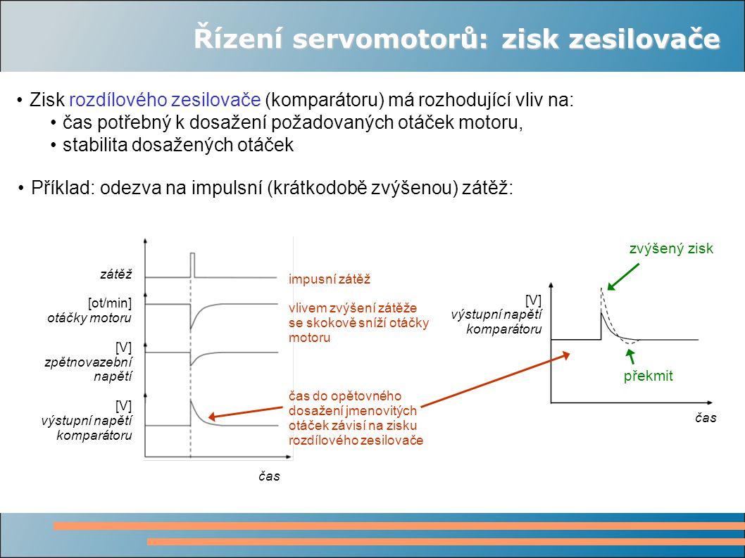 Řízení servomotorů: zisk zesilovače Zisk rozdílového zesilovače (komparátoru) má rozhodující vliv na: čas potřebný k dosažení požadovaných otáček motoru, stabilita dosažených otáček Příklad: odezva na impulsní (krátkodobě zvýšenou) zátěž: zátěž [ot/min] otáčky motoru [V] zpětnovazební napětí [V] výstupní napětí komparátoru čas impusní zátěž vlivem zvýšení zátěže se skokově sníží otáčky motoru čas do opětovného dosažení jmenovitých otáček závisí na zisku rozdílového zesilovače čas [V] výstupní napětí komparátoru zvýšený zisk překmit