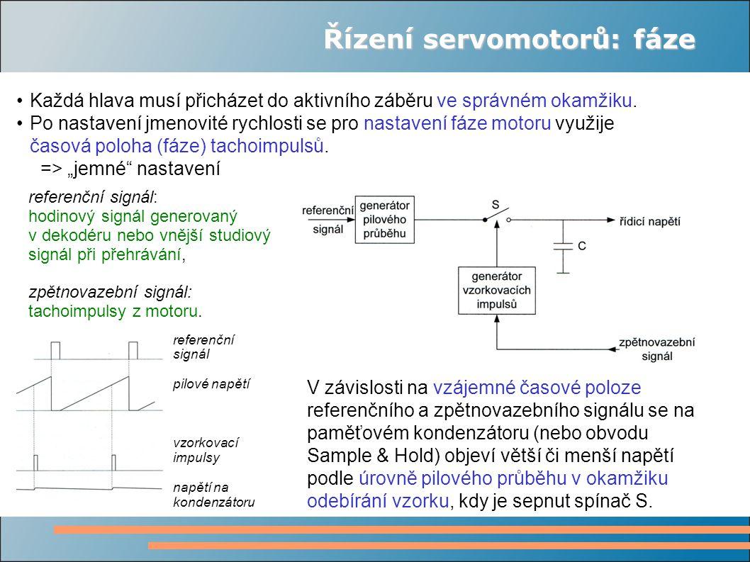 Řízení servomotorů: fáze Každá hlava musí přicházet do aktivního záběru ve správném okamžiku.