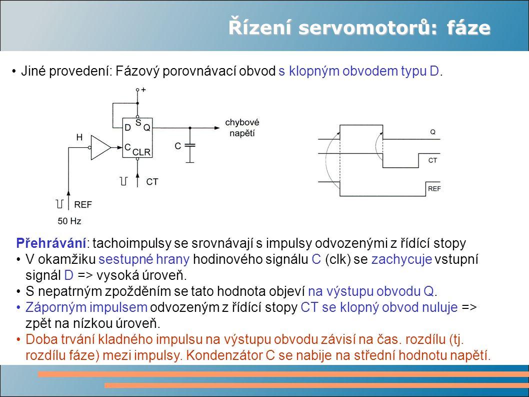 Řízení servomotorů: fáze Jiné provedení: Fázový porovnávací obvod s klopným obvodem typu D.