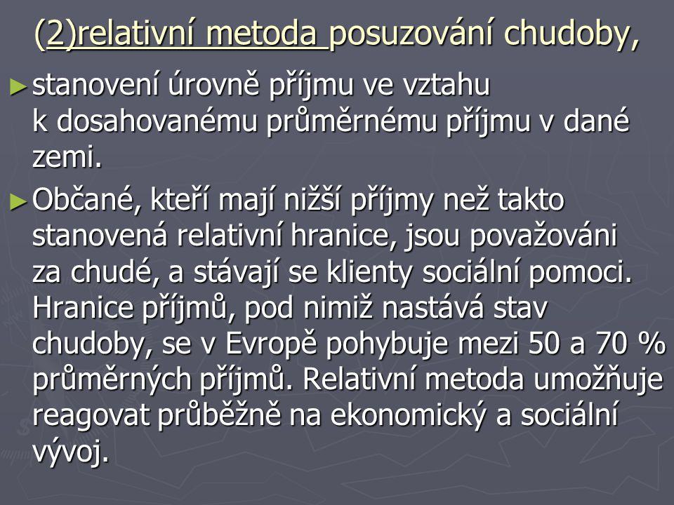 (2)relativní metoda posuzování chudoby, ► stanovení úrovně příjmu ve vztahu k dosahovanému průměrnému příjmu v dané zemi. ► Občané, kteří mají nižší p