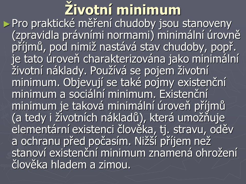 Životní minimum ► Pro praktické měření chudoby jsou stanoveny (zpravidla právními normami) minimální úrovně příjmů, pod nimiž nastává stav chudoby, po