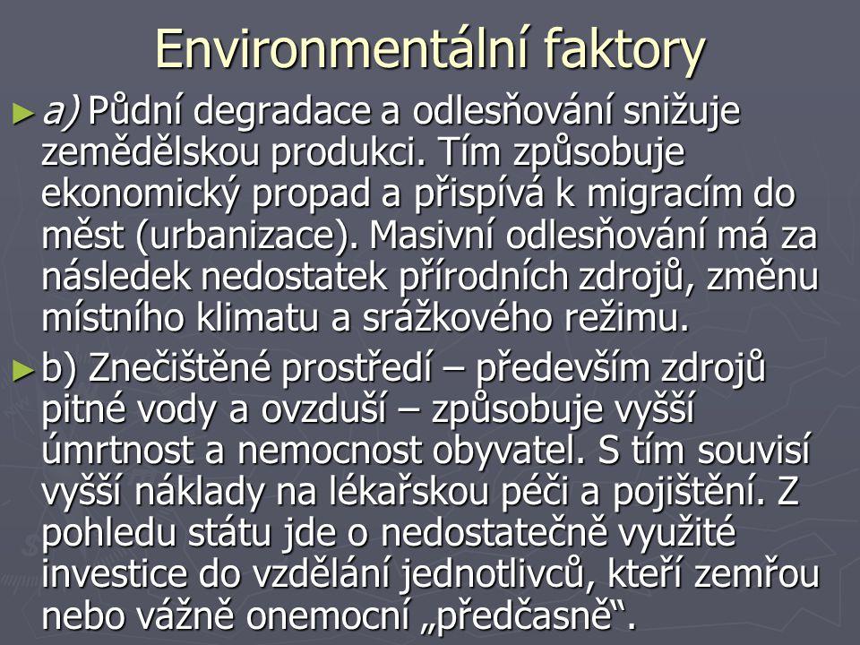 Environmentální faktory ► a) Půdní degradace a odlesňování snižuje zemědělskou produkci. Tím způsobuje ekonomický propad a přispívá k migracím do měst