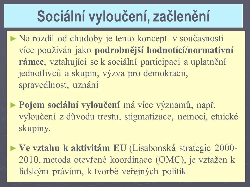 Sociální vyloučení, začlenění ► ► Na rozdíl od chudoby je tento koncept v současnosti více používán jako podrobnější hodnotící/normativní rámec, vztah